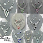PRINCESS STYLE CRYSTAL PROM WEDDING FORMAL NECKLACE JEWELRY SET CHIC ACCESSORIES