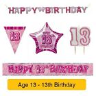 AGE 13 - Happy 13th Birthday PINK GLITZ - Party Balloons, Banners & Decorations