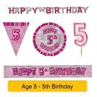 AGE 5 - Happy 5th Birthday PINK GLITZ - Party Balloons, Banners & Decorations