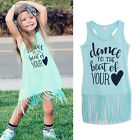Tops Baby Girls Summer Dress Sleeveless Casual Cotton Vest Dress One Piece 0-6Y