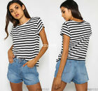 Women's striped short sleeve O-neck classic summer casual Tops Tee Loose T-shirt