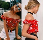 Women floral print off shoulder short sleeve summer beach crop tops Tee T-shirt