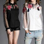 Popular Women Embroidered Flowers Organza Long Sleeves Shirt Blouses Tops