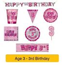 AGE 3 - Happy 3rd Birthday PINK GLITZ - Party Banners, Balloons & Decorations