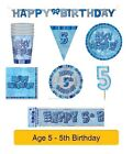 AGE 5 - Happy 5th Birthday BLUE GLITZ - Party Balloons, Banners & Decorations/HB