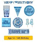 AGE 14 - Happy 14th Birthday BLUE GLITZ - Party Balloons, Banners & Decorations