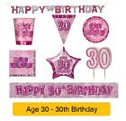 AGE 30 - Happy 30th Birthday PINK GLITZ - Party Banners, Balloons & Decorations