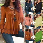 Summer Women's V neck Casual Long Sleeve Lace Shirts Loose Blouses T Shirt Tops