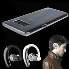 Stereo Bluetooth Earphone Sport Headset + Clear Case For Samsung Galaxy S8 &Plus