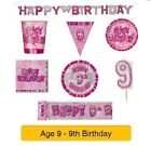 AGE 9 - Happy 9th Birthday PINK GLITZ - Party Banners, Balloons & Decorations