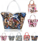 Women's Flower Print Tote Bags Ladies Quality Faux Leather Shoulder Bag Handbags