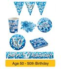 AGE 50/50th Birthday BLUE SPARKLE Birthday Party Range - Tableware Banners Decs