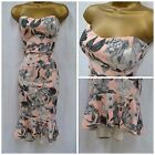 NEW ASOS BODYCON DRESS BANDEAU WIGGLE PINK GREY FISHTAIL MIDI SUMMER SIZE 6 - 14