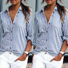affordable plus size clothes - Women's Striped Casual Tops Shirt Loose Fashion Blouse Clothes Plus Size T-Shirt