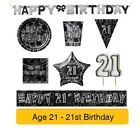 AGE 21 - 21st Birthday BLACK & SILVER GLITZ - Party Banners,Balloons&Decorations