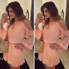 Summer Women Casual Long Sleeve Dress Off shoulder Chiffon Short Mini Sundress