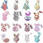 Внешний вид - Newborn Infant Baby Girl Floral Romper Jumpsuit Bodysuit Headband Clothes Outfit