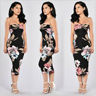 New women lady strapless floral bodycon slim stretch party evening midi dress