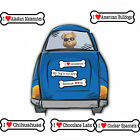 "I Heart Love Dogs Dog Breed 2"" x 7"" Bone Shaped Car Magnets"