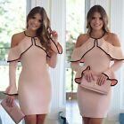 Sexy Women Halterneck Party Bodycon Long Sleeve OL Evening Cocktail Pencil Dress
