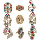 10 pcs Mixed Design Rings Wholesale Lot Gold Plated Full Crystal Fashion Jewelry