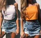Women Lady Spaghetti Strap Summer Casual Crop Vest Camisole Cami Tee T-shirt Top