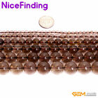 """Natural Round Brown Smoky Quartz Gemstone Loose Beads For Jewelry Making 15"""""""