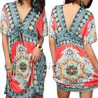 Gorgeous Bohemia Floral Tribal Ethnic Pattern Backless Summer Beach Tunic Dress