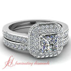 Halo Style Crowning Glory Engagement Rings Set 1.25 Ct Princess Cut SI1 Diamond