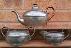 PEWTER TEA POT, MILK JUG & SUGAR BOWL.