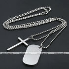 Vintage Unisex Silver Stainless Steel Cross Pendant Necklace Chain Jewelry Gift