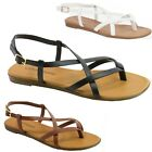 City Classified Women's Flat Shoes Strappy Thong Slingback Gladiator Sandals