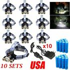Garberiel 80000Lumen 5T6 LED 18650 USB Rechargeable Headlamp HeadLight + Charger