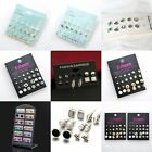 6/9/12pairs Pearl Rhinestone Crystal Ear Stud Earrings Women Fashion Jewelry Set