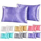 Silk Satin Soft Pillow Cases Cover Queen Standard Comfort Solid Home Decor