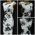 NEW PER UNA M&S DRESS BODYCON SHIFT FLORAL IVORY GREY GREEN PARTY SUMMER 8 - 22