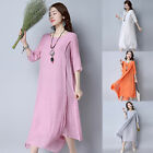 Celmia Womens Summer Crew Neck Vintage Linen 1/2 Sleeve Long Maxi Dress UK S-5XL
