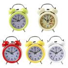 3 Inch Metal Double Bell Alarm Clock Bedside Desk Mute Table with Nightlight RT