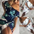 Women Off Shoulder Beach Mini Dress Floral Printed Causal Strapless Dress AU8-18