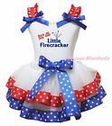 Born on July 4th Little Firecracker White Top RWB Star Satin Trim Skirt NB-8Year