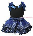 Plain Black Cotton Top Navy Blue Sailor Satin Trim Skirt Girls Outfit Set NB-8Y