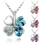 Women Happiness Clover Four Leaf Crystal Pendant Chain Necklace Jewelry Gift New