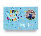 PERSONALISED BLUE HAPPY BIRTHDAY PHOTO BANNER COLOURFUL STARS 4 SIZES