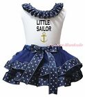 White Cotton Top Navy Blue Little Sailor Satin Trim Skirt Girls Outfit Set NB-8Y