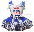 Born In the USA 4th July White Top Blue USA Flag Satin Trim Skirt Girl Set NB-8Y