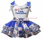 4th July Little Firecracker White Top Blue USA Flag Satin Trim Skirt Set NB-8Y