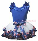 Plain Queen Day Blue Cotton Top White UK Flag Satin Trim Skirt Girls Set NB-8Y