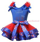 4th July Blue Top Red Little Miss USA Hat Balloon Mustache Satin Trim Skirt 0-8Y