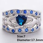 Wedding Fashion Claddagh Ring Jewelry Silver Plated Blue Sapphire