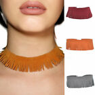 Women Jewelry Gothic Width Velvet Leather Tassels Choker Short Necklace New
